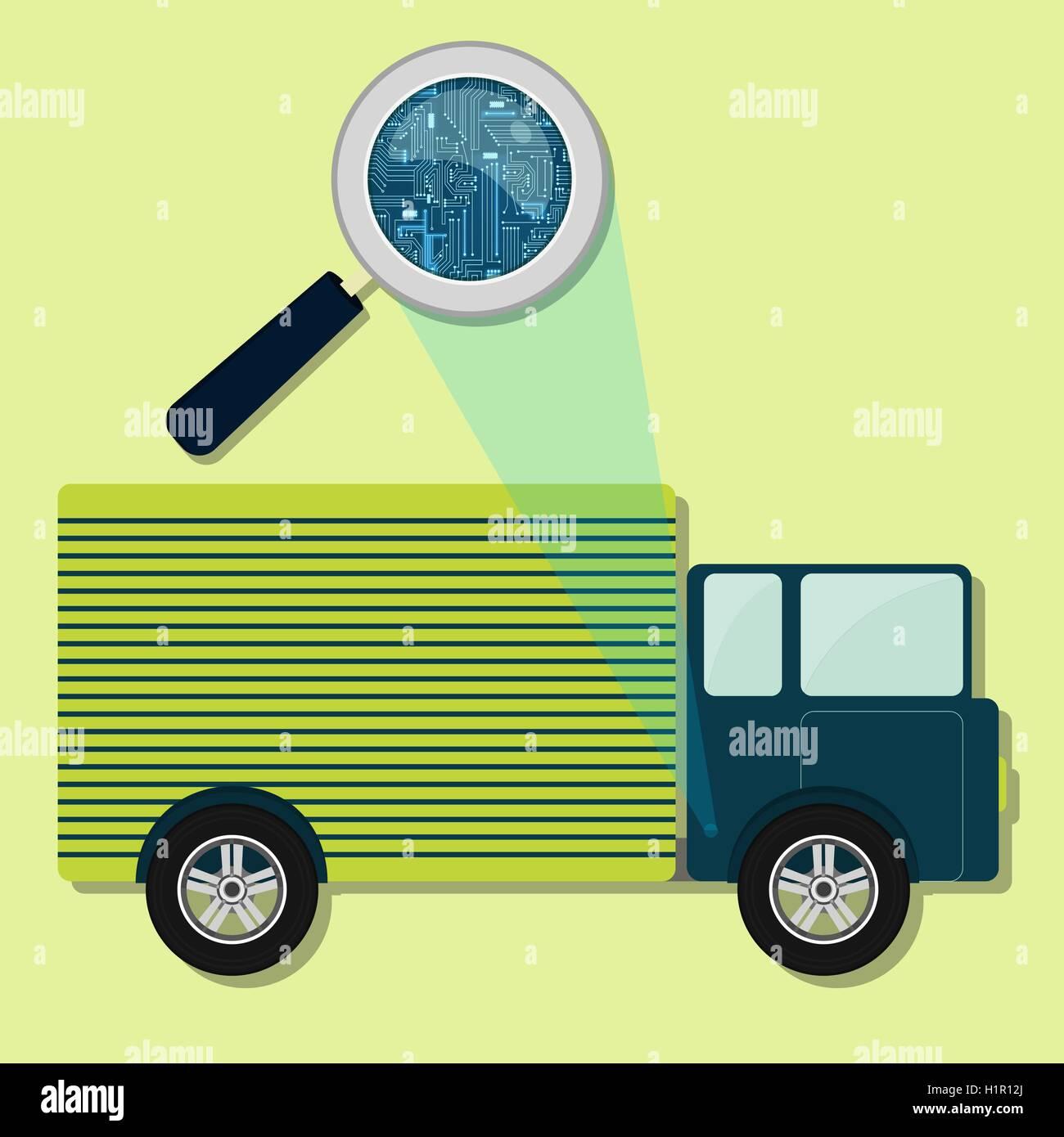 Lupe vergrößern elektronische Schaltung des LKW. Konzept Vektor ...