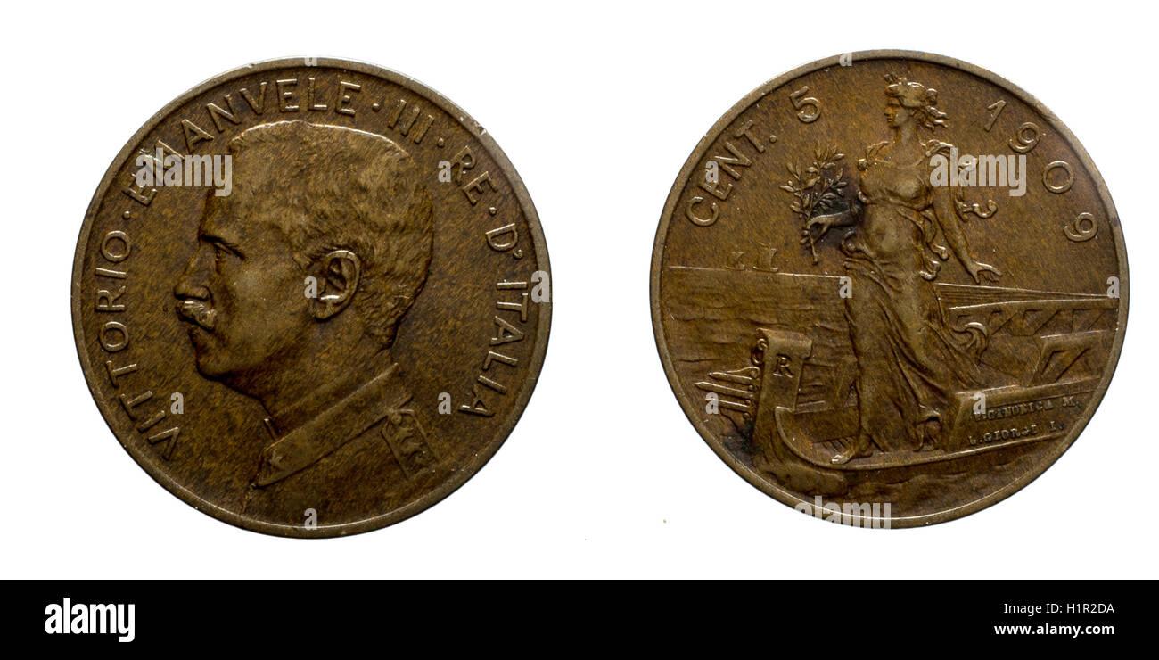 Fünf 5 Cent Lire Kupfer Münze 1909 Prora Vittorio Emanuele Iii