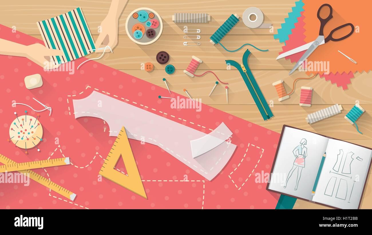 Schneider arbeiten und Nähen ein Hemd, Näheinrichtungen, Muster und ...