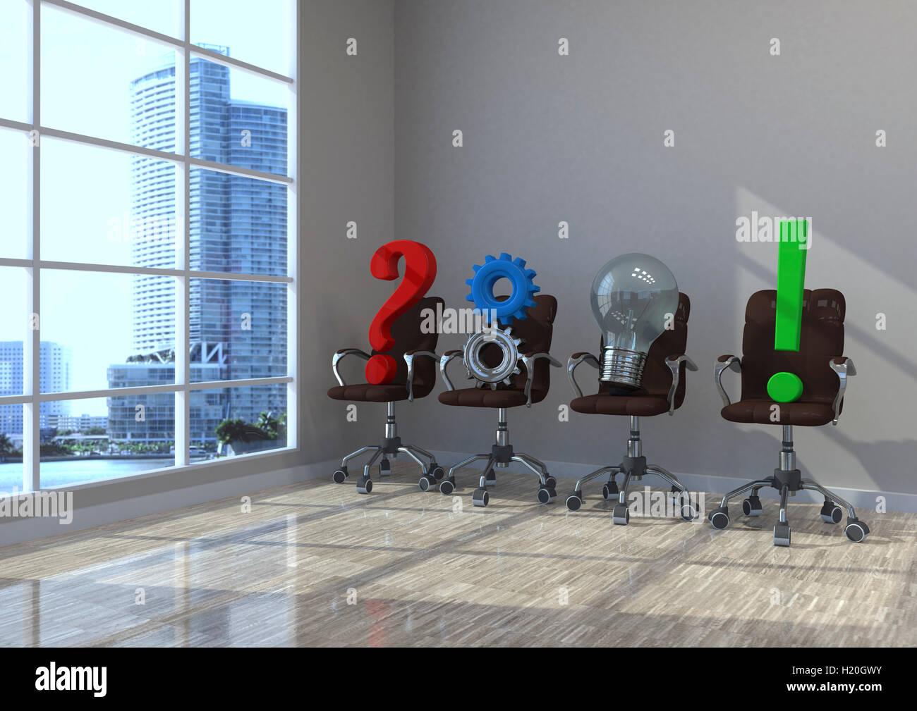 3D Illustration, Planung, Konzept, Drehstühle mit Zahnräder ...