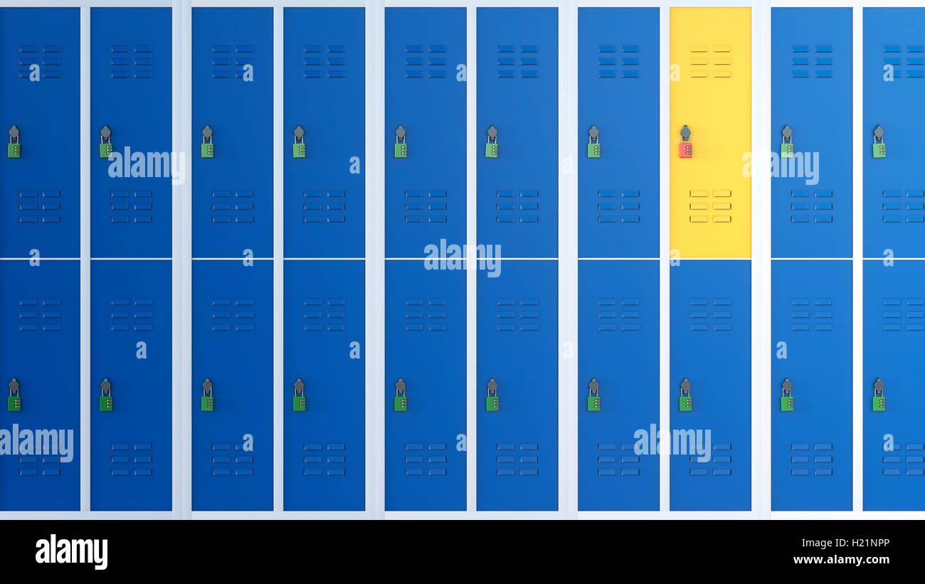 Gelbe Locker zwischen Reihen von blauen Schließfächer, 3D Rendering Stockbild