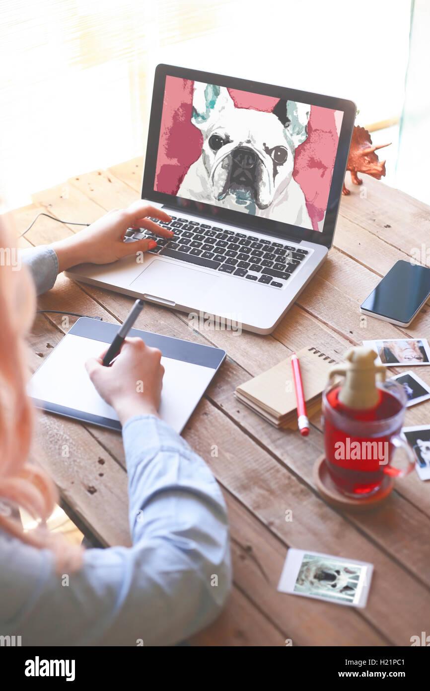 Illustrator Zeichnen Eine Französische Bulldogge Mit Einem