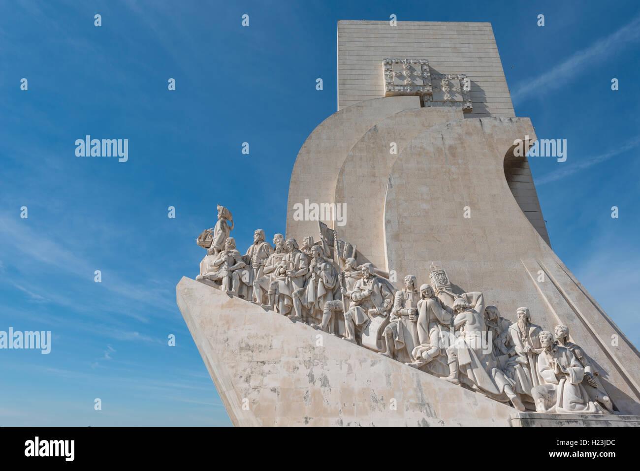 Padrão dos Descobrimentos, das Denkmal der Entdeckungen, Nahaufnahme, Belém, Lissabon, Portugal Stockbild