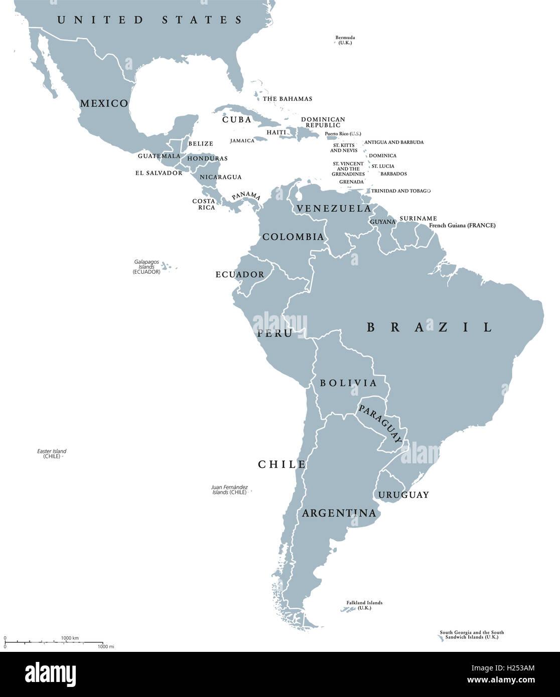 Lateinamerika Karte Länder.Lateinamerika Ländern Politische Karte Mit Nationalen Grenzen