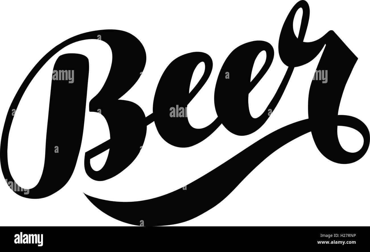 Beer hand Schriftzug. Alkoholisches Getränk, das Logo oder Label ...