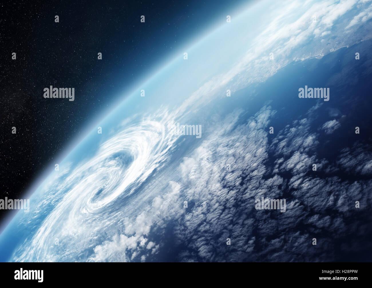 Planetenerde aus dem Weltraum hautnah mit Wolkenformationen. Illustration - keine NASA-Bilder verwendet. Stockfoto