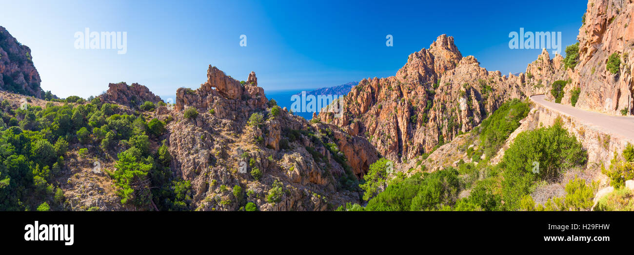 Calanques de Piana an der West Küste von Korsika Stockbild