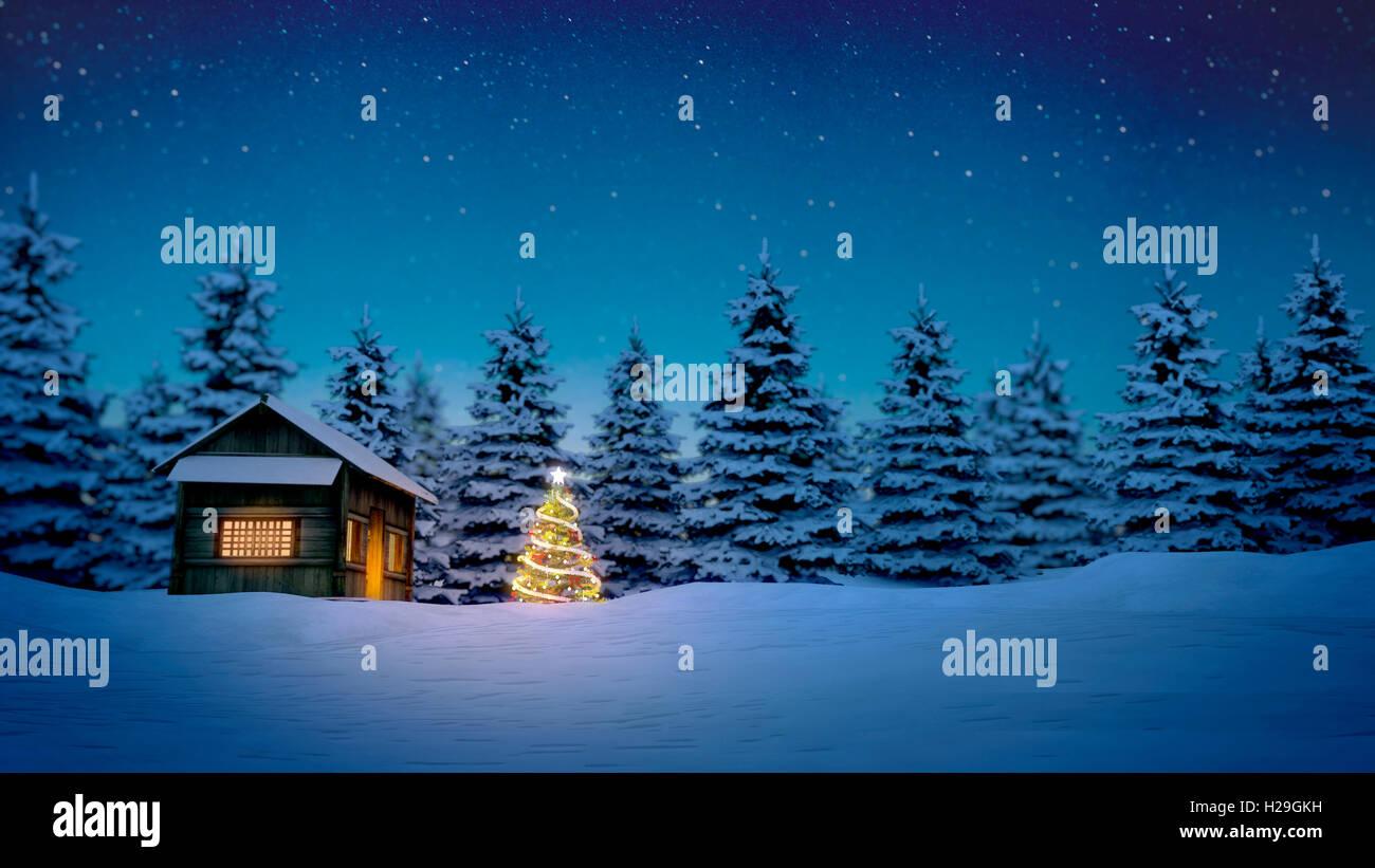 beleuchtete Weihnachtsbaum vor der Holzhütte im Schnee in der Nacht ...