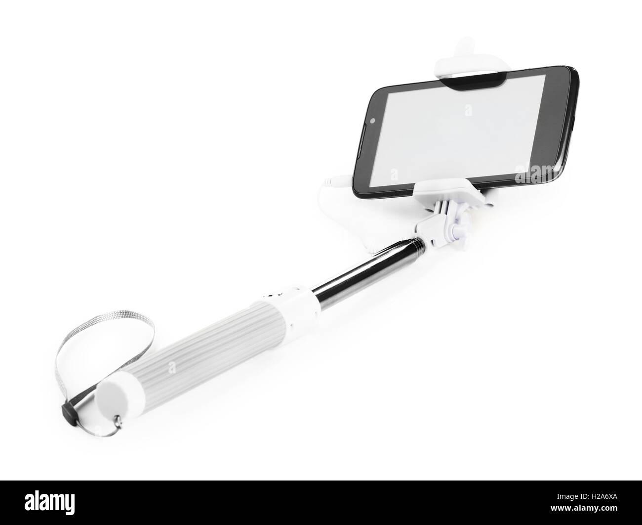 Selfie Stick isoliert auf weißem Hintergrund Stockfoto