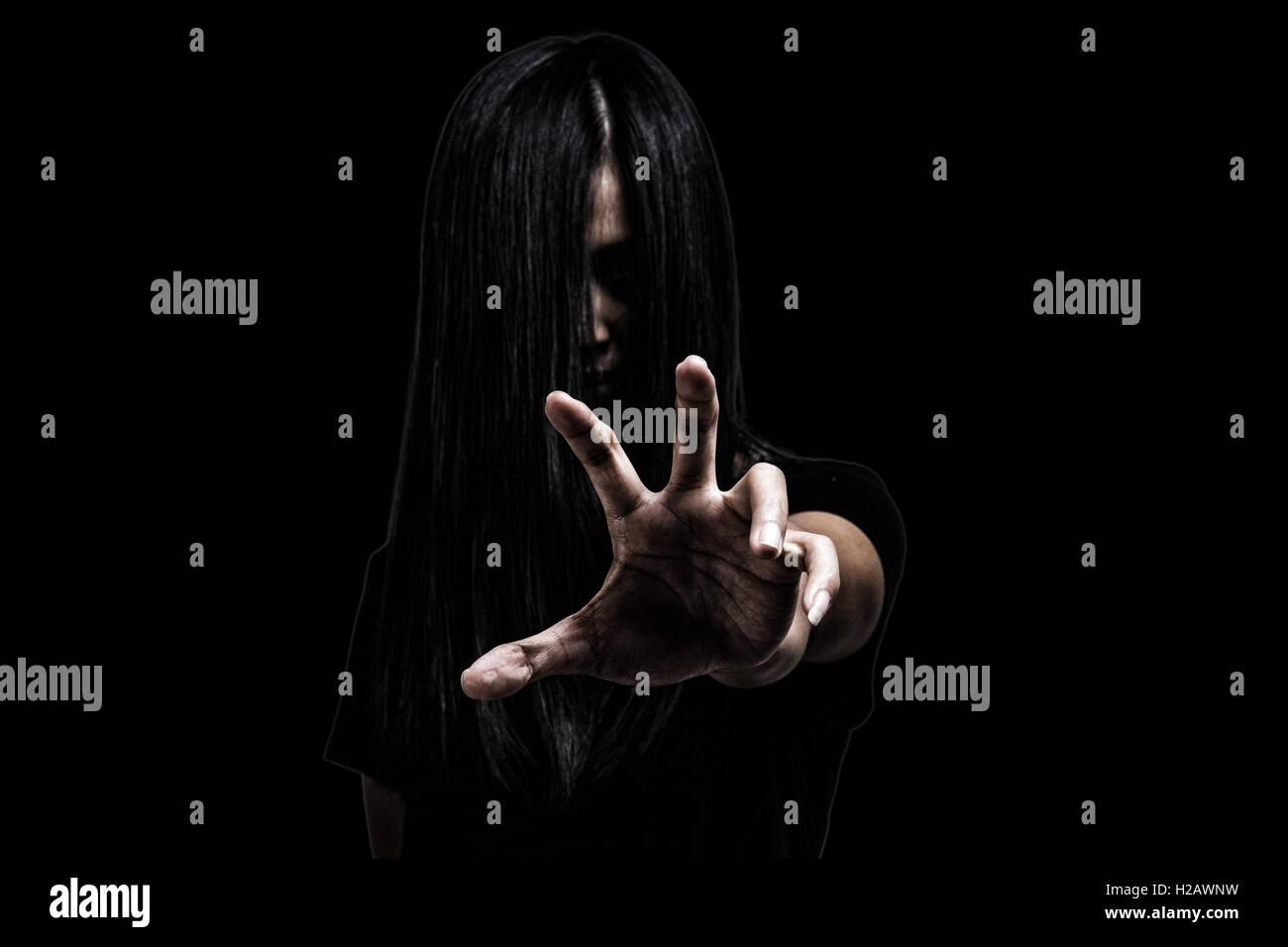 Geist, Horror, Frau, Gesicht, Mädchen, böse, Dämon, dunkel, Halloween, grausam, schmutzig, gruselig, Stockbild