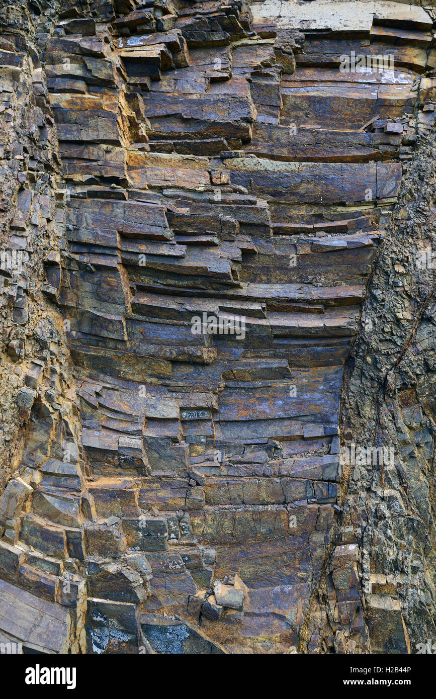Vulkangestein, Schichten von Basalt, Masca, Teno Gebirge, Teneriffa, Kanarische Inseln, Spanien Stockbild