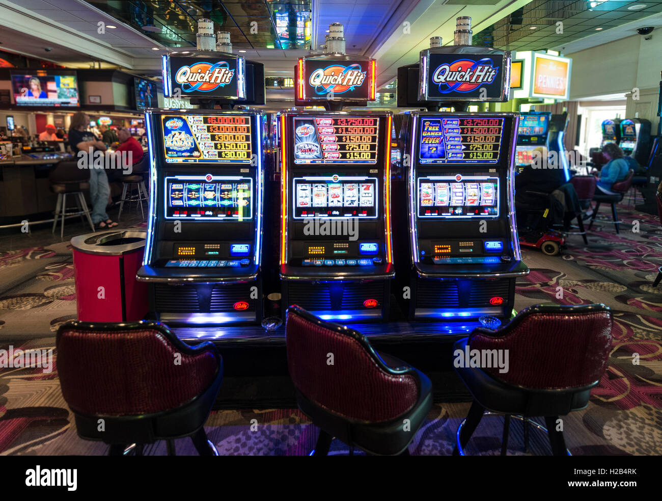 Steckplätze, schnell im Casino, Las Vegas, Nevada, USA Stockfoto