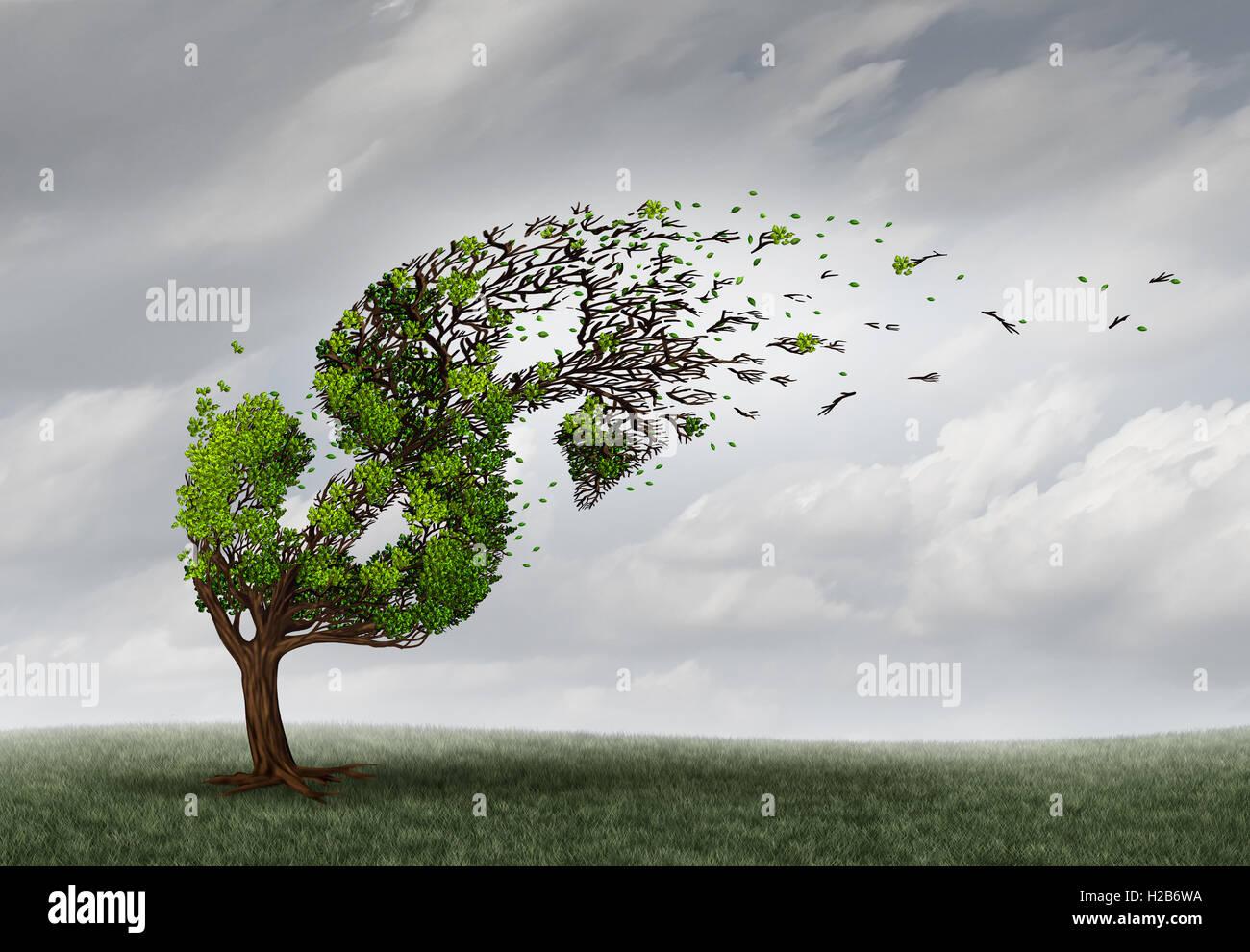 Finanzielle Probleme und Geld Widrigkeiten oder Wirtschaftskrise Konzept als Baum wird vom Wind und beschädigt Stockbild