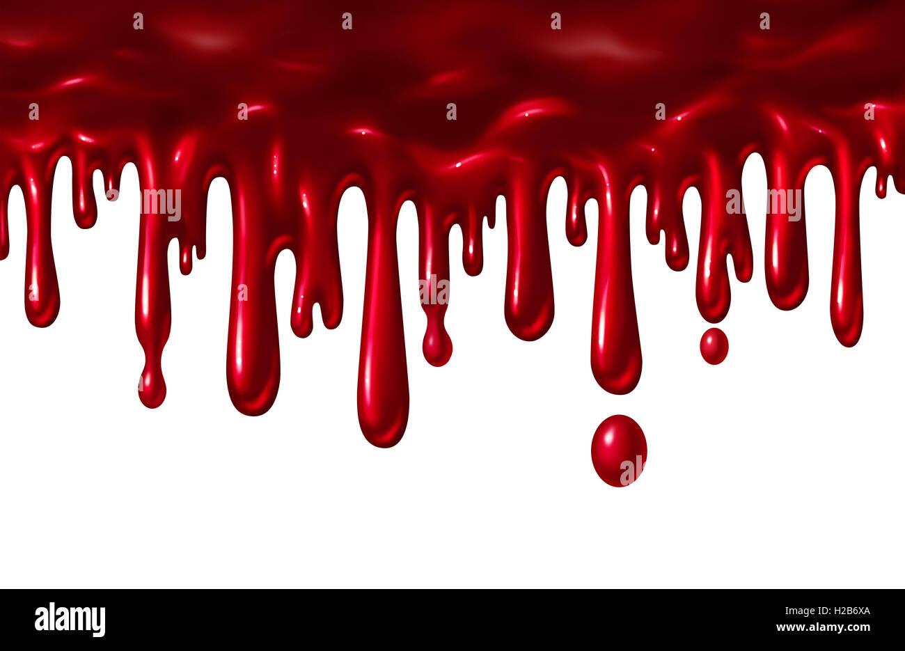 Blut Flüssigkeit tropfte wie eine rote Splatter mit Tropfen fallen nach unten wie ein Halloween-Element oder ein Symbol der Gewalt und des Terrors isoliert auf einem weißen Hintergrund in einer 3D Darstellung Stil. Stockfoto