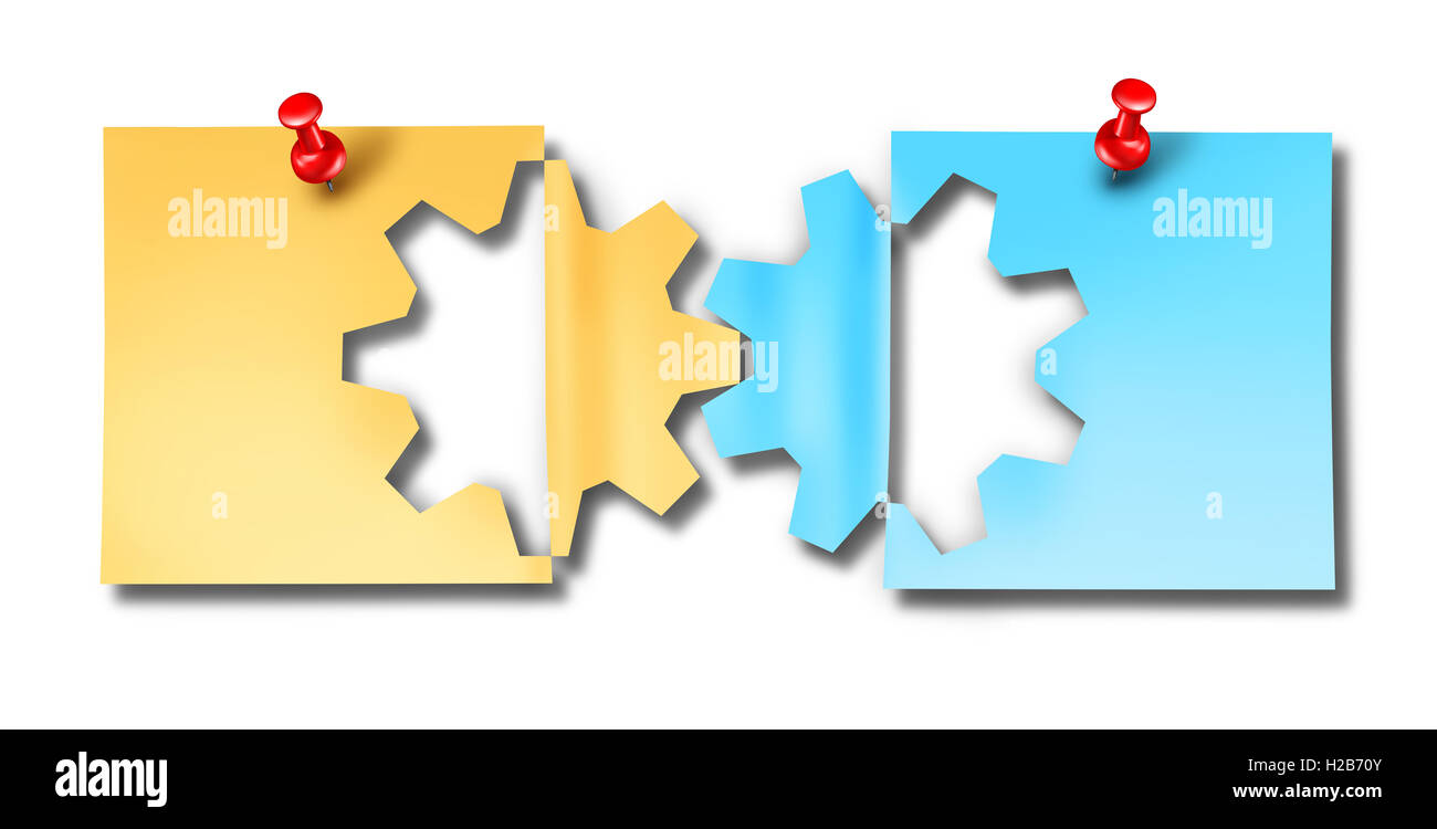 Büro Arbeit Zusammenarbeit Unternehmen Verbindungssymbol als zwei ...
