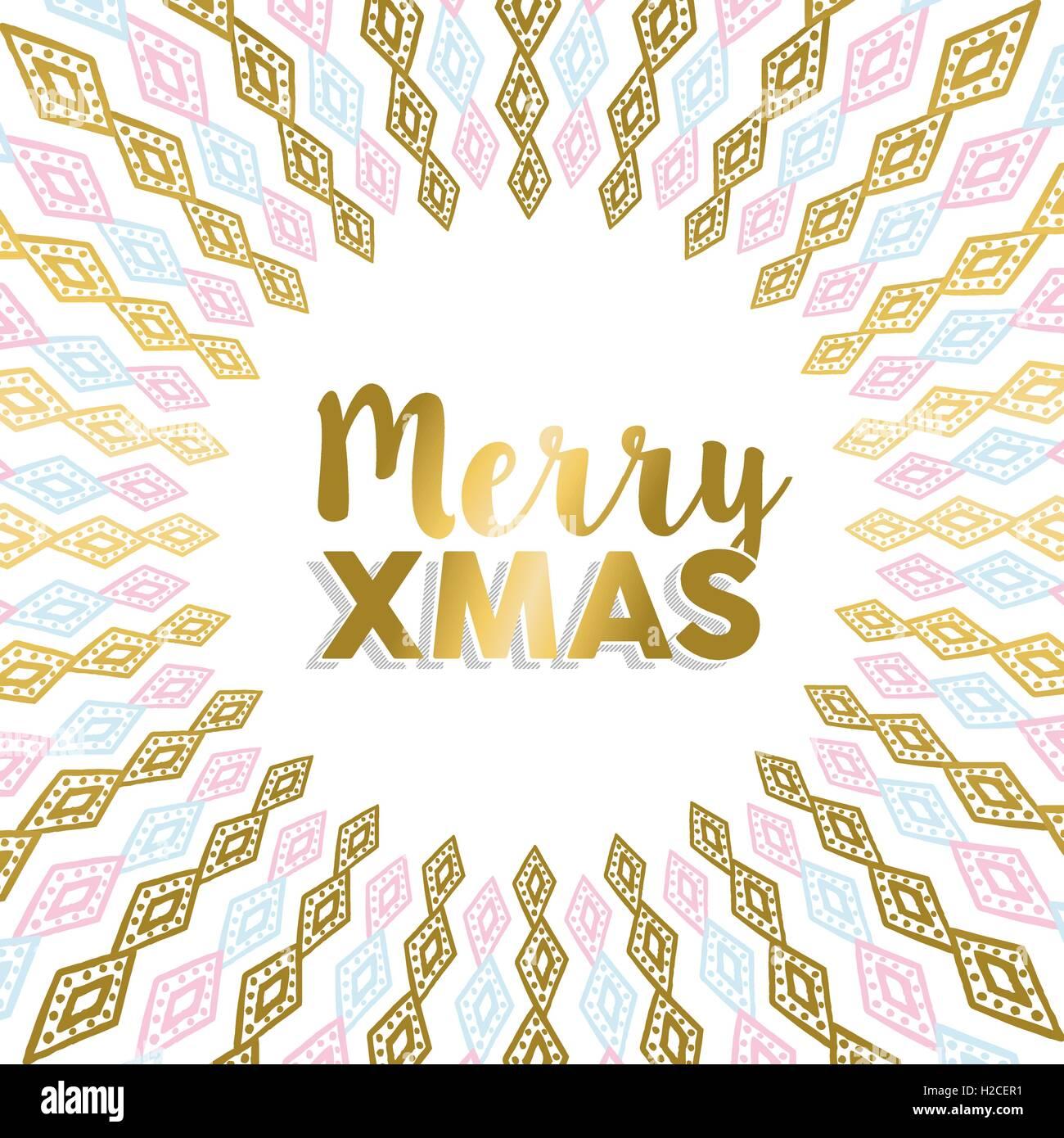 Frohe Weihnachten-Design in gold und Pastell Farben mit Stammeskunst ...