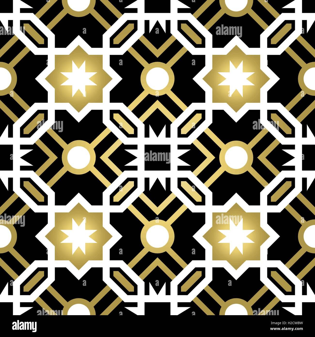 Gold Klassische Keramik Mosaik Fliesen Musterdesign Mit Geometrischen Form  Dekoration, Luxus Stil Abstrakten Hintergrund. EPS10