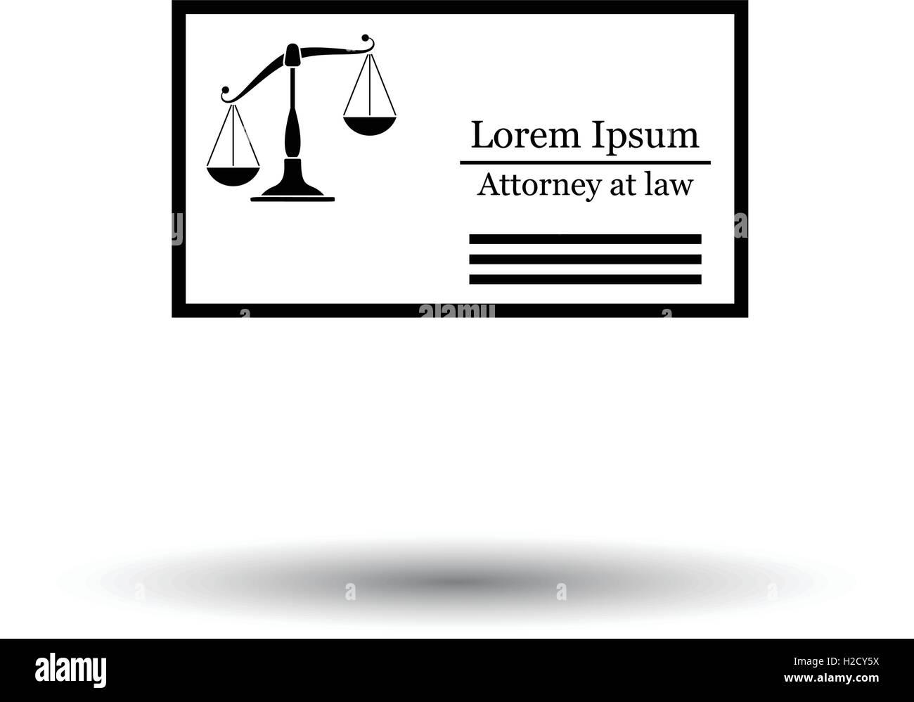 Rechtsanwalt Visitenkarte Symbol Weißen Hintergrund Mit