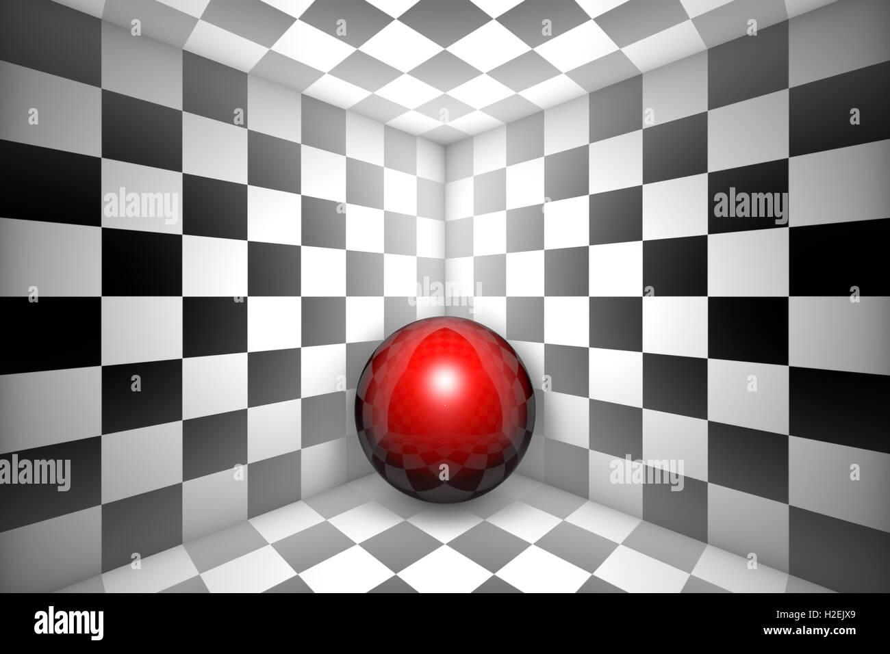 Rote Kugel in schwarz / weiß quadratisch. 3D Illustration. Stockfoto