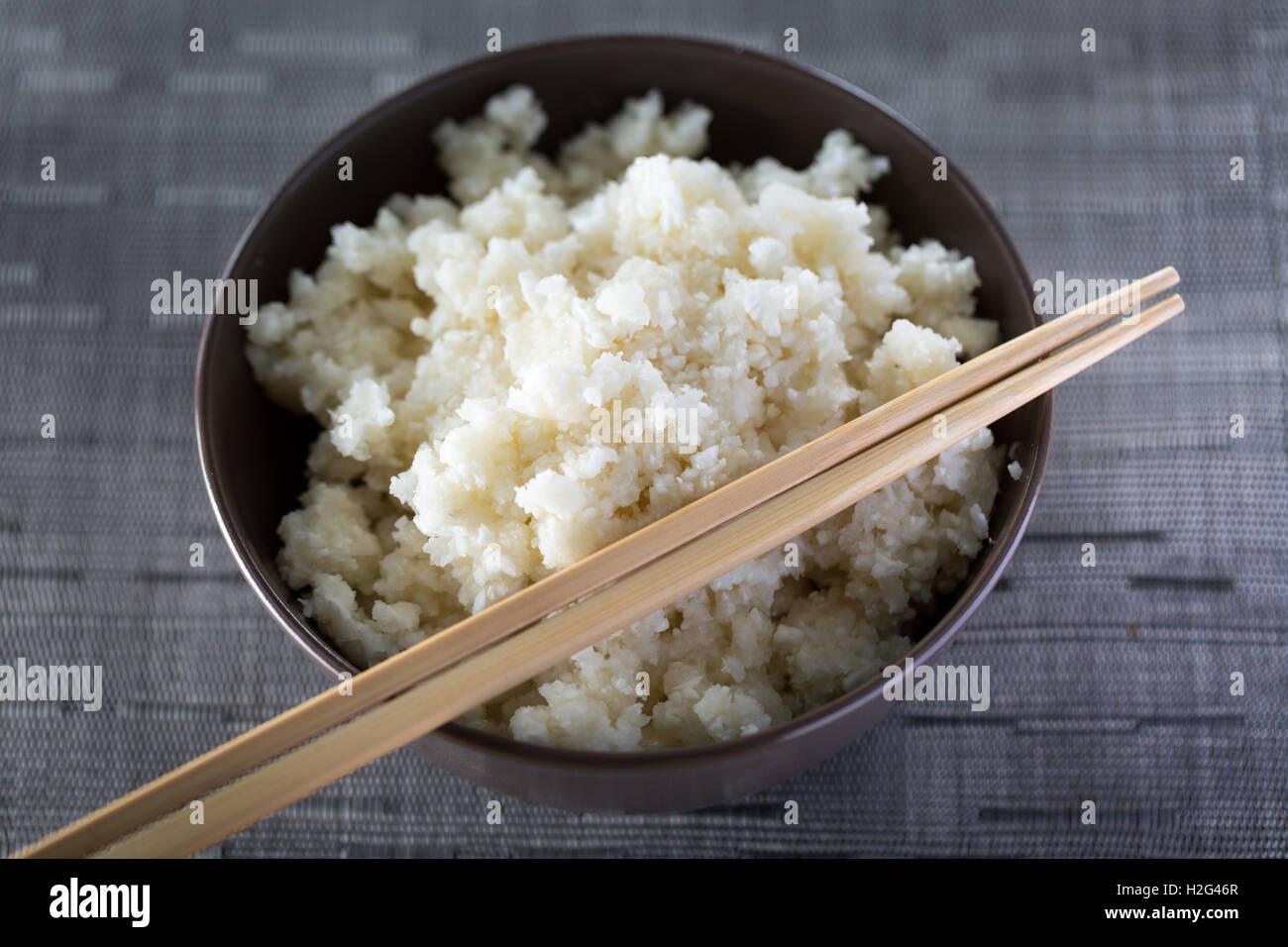 Eine Schüssel Blumenkohl Reis Stockbild