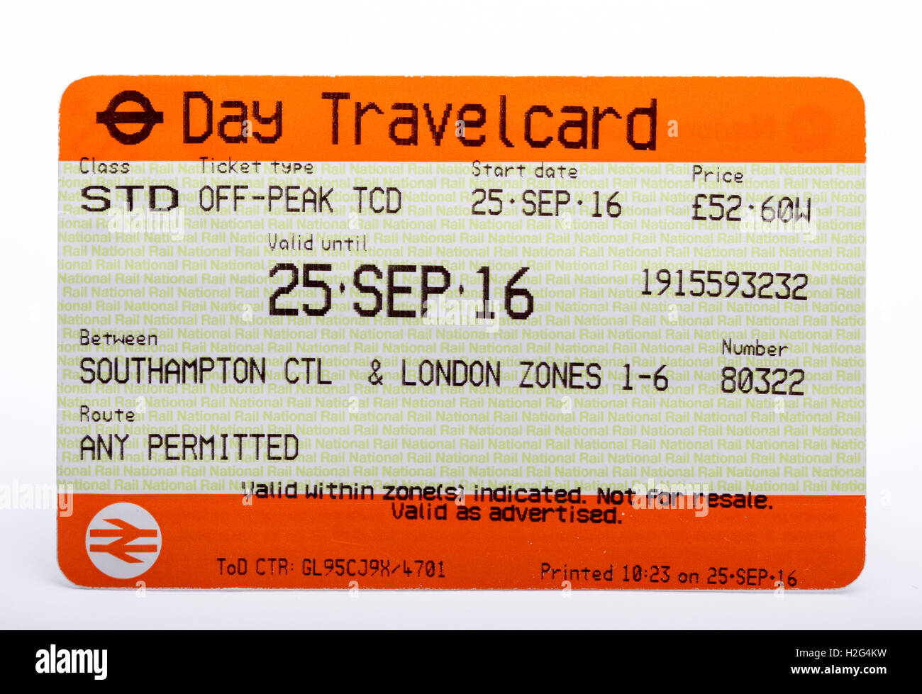 Ein Zugticket von National Rail Travel Tageskarte Stockbild