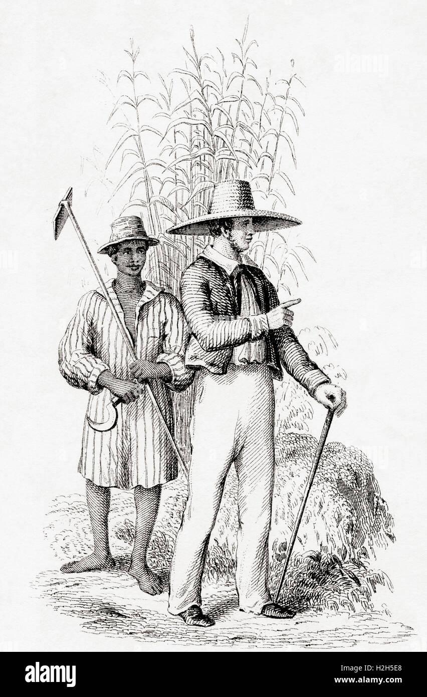 Ein Pflanzkübel und seine Sklavin in den West Indies im 19. Jahrhundert. Stockbild