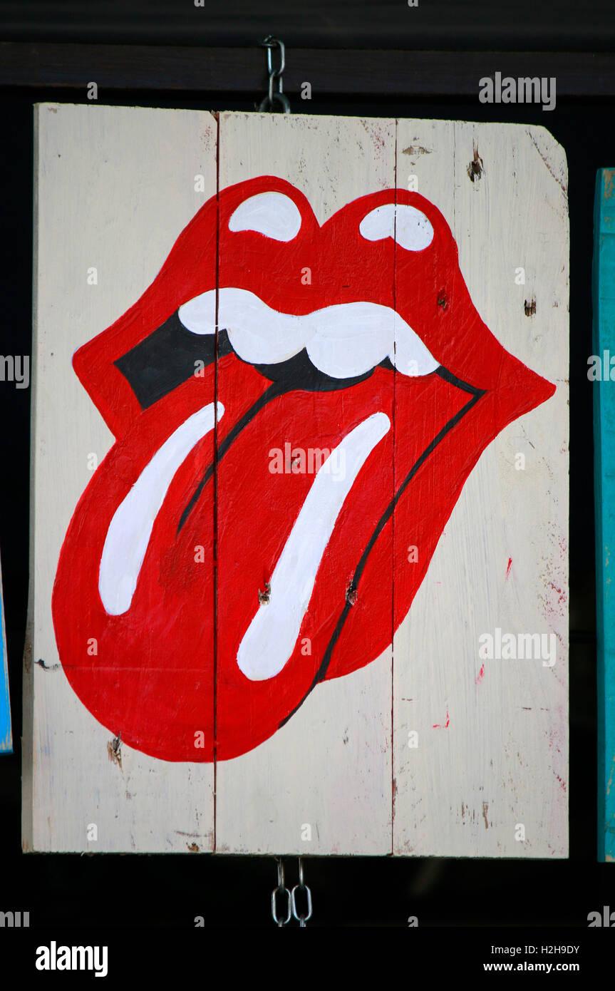 """Das Logo der """"Rolling Stones"""", Ibiza, Spanien. Stockbild"""
