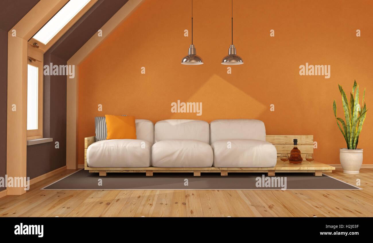 Orange Wohnzimmer im Dachgeschoss mit Palette Sofa - 3d rendering ...