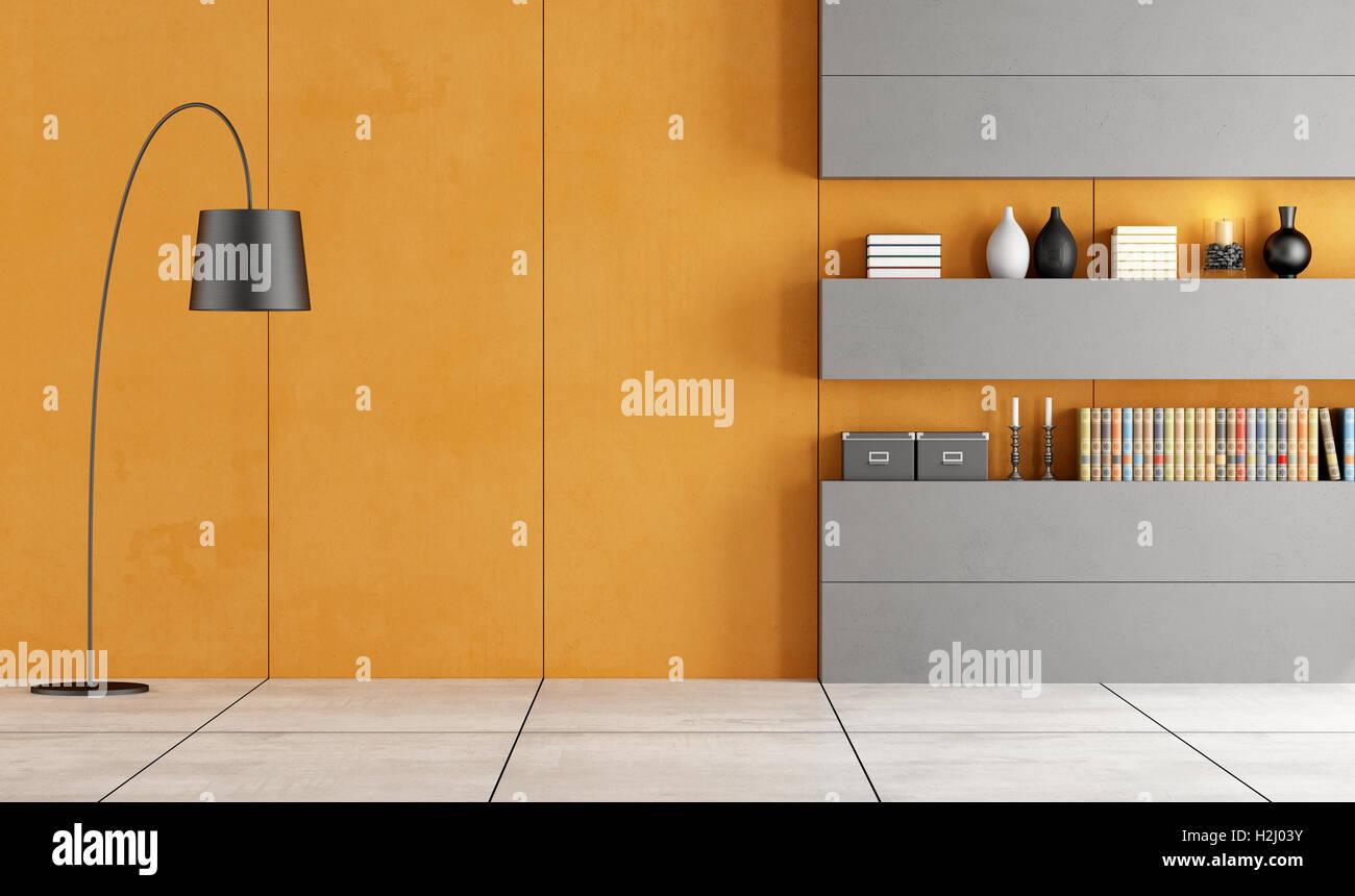 Orange und grau Wohnzimmer mit Bücherregal - 3d rendering Stockfoto ...