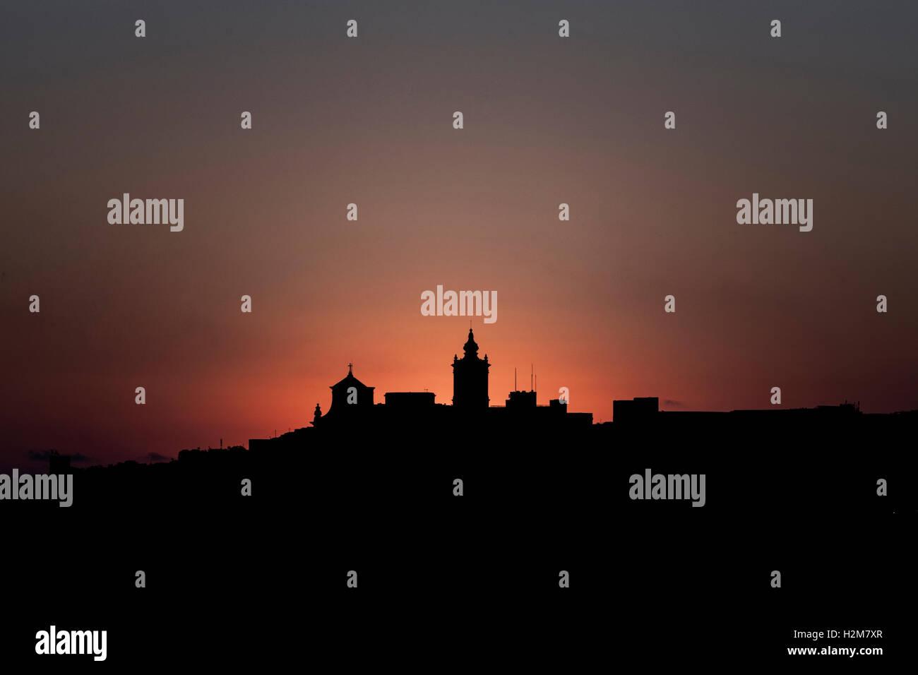 Silhouette der Cittadella, Victoria, Gozo, Malta Stockbild