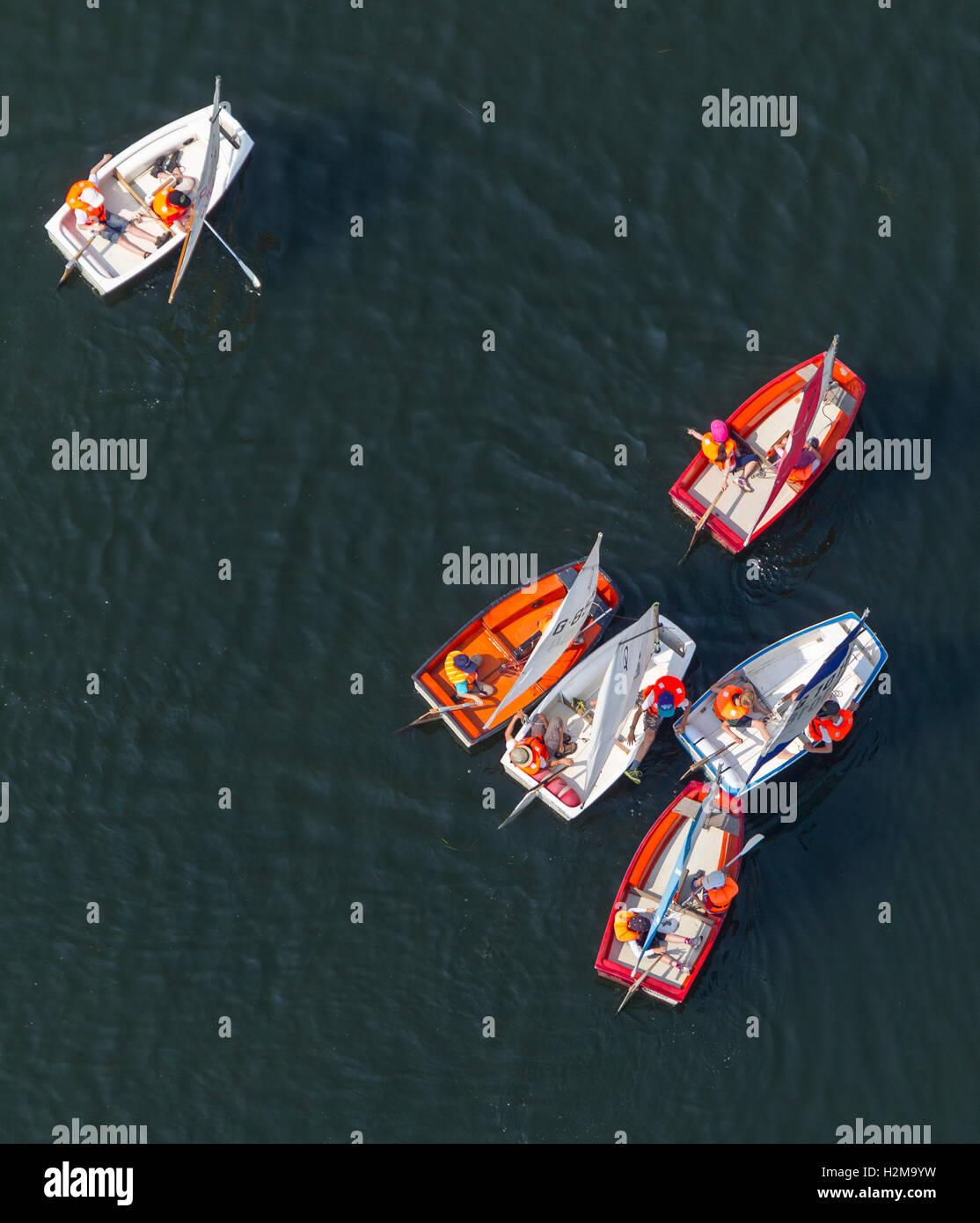 Luftbild, Segelschule auf dem See, Optimist, Segelboot, Kemnade, Kemnader dam, Luftaufnahme von Bochum, Ruhrgebiet, Stockbild