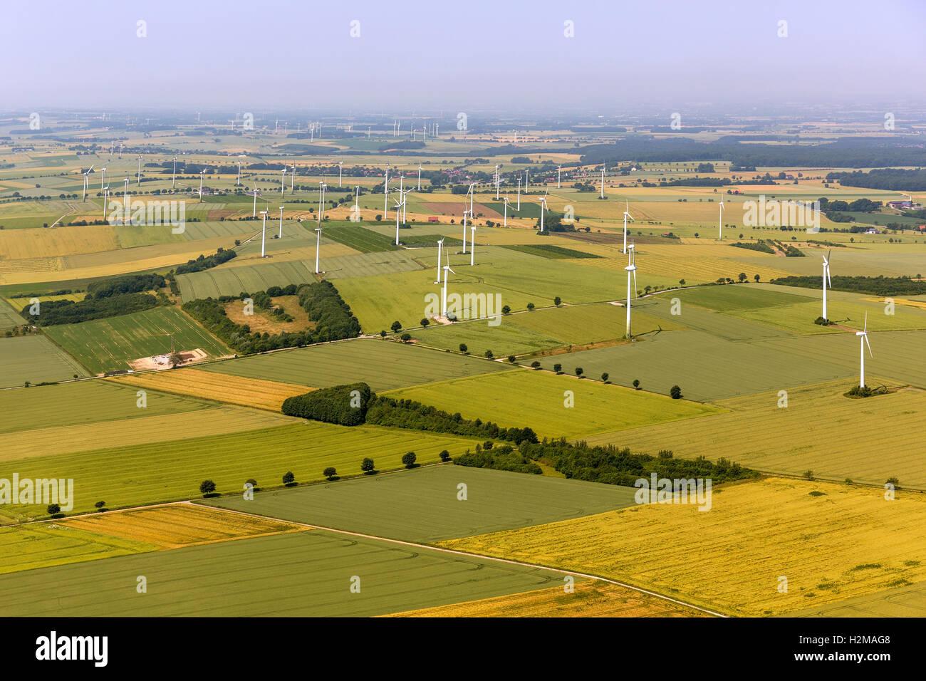 Luftbild, Windpark mit Rüthen, Windkraftanlagen, Luftbild von Rüthen, Sauerland, Soester Börde, Stockbild