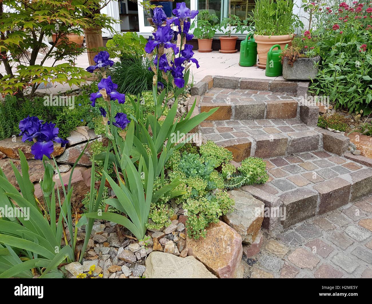 Gartentreppe Treppe Garten Pflaster Naturpflaster Stockfoto