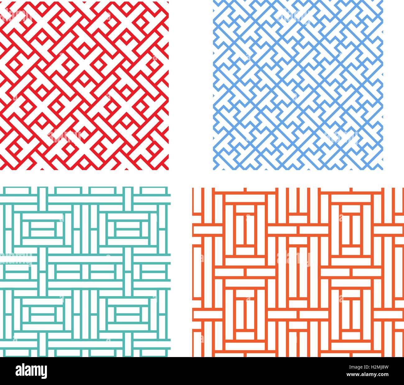 nahtlose retro geometrische puzzle muster in modernen asiatischen stil - Puzzle Muster