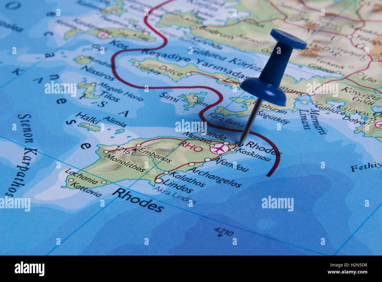 Rhodos Karte.Rhodos In Der Karte Mit Pin Stockfoto Bild 122167187 Alamy