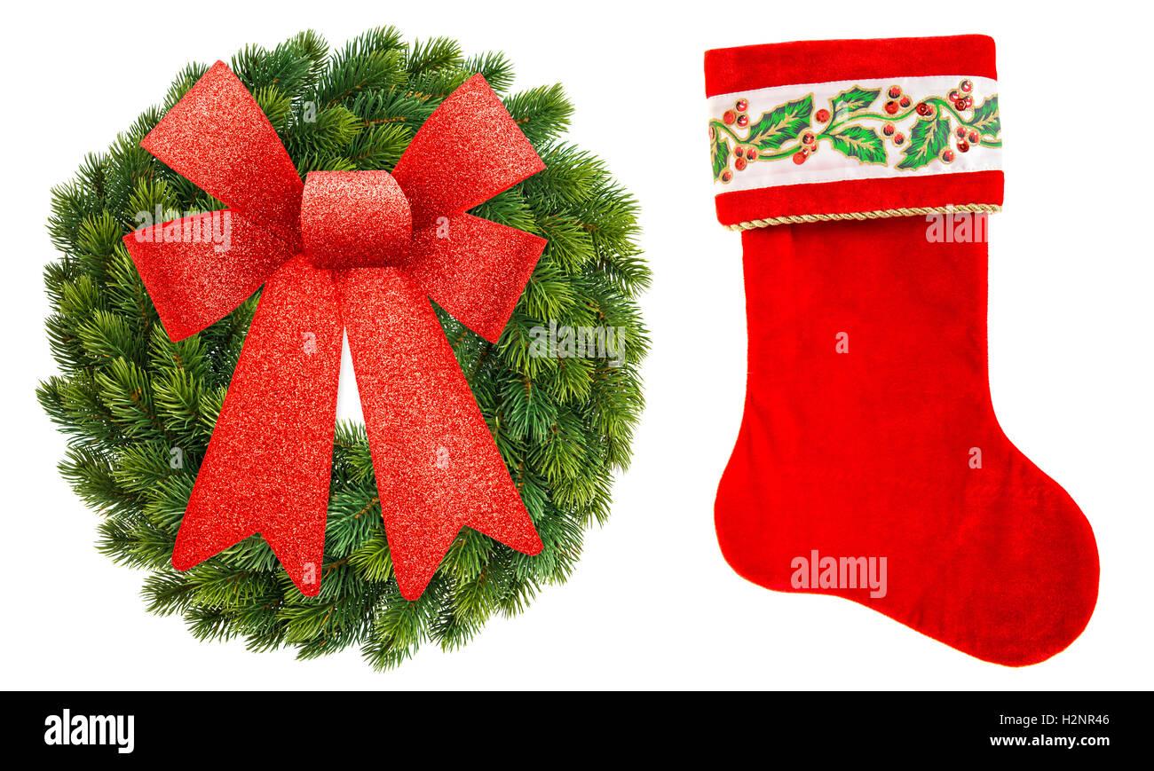 Weihnachtskranz Ornament mit roter Schleife und Weihnachten Socken ...