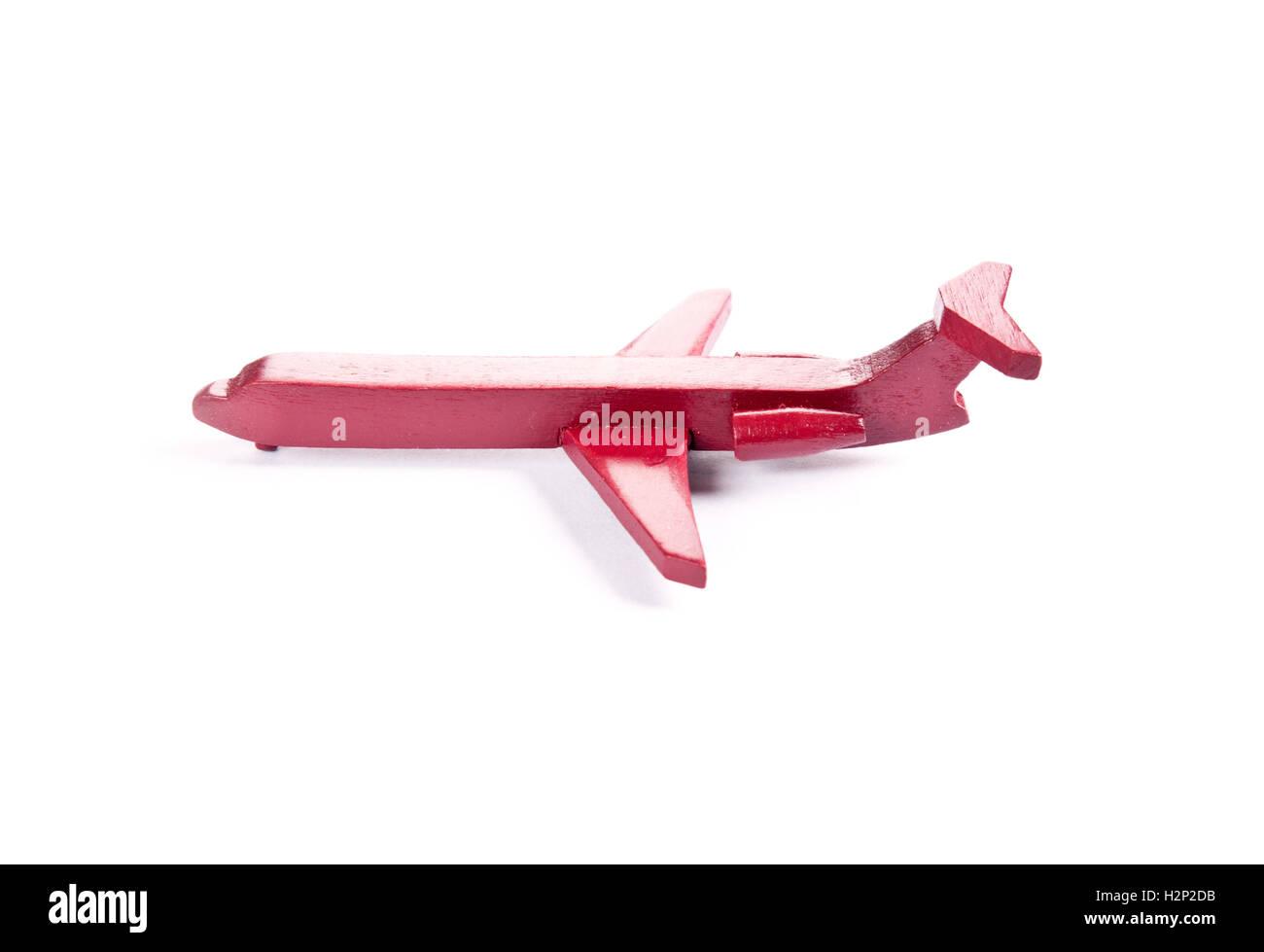 Spielzeugflugzeug in roter Farbe Stockbild