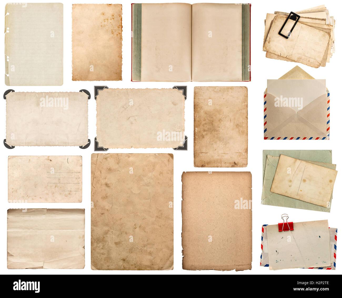 Papier Blatt, Buch, Umschlag, Fotorahmen mit Ecke isoliert auf ...