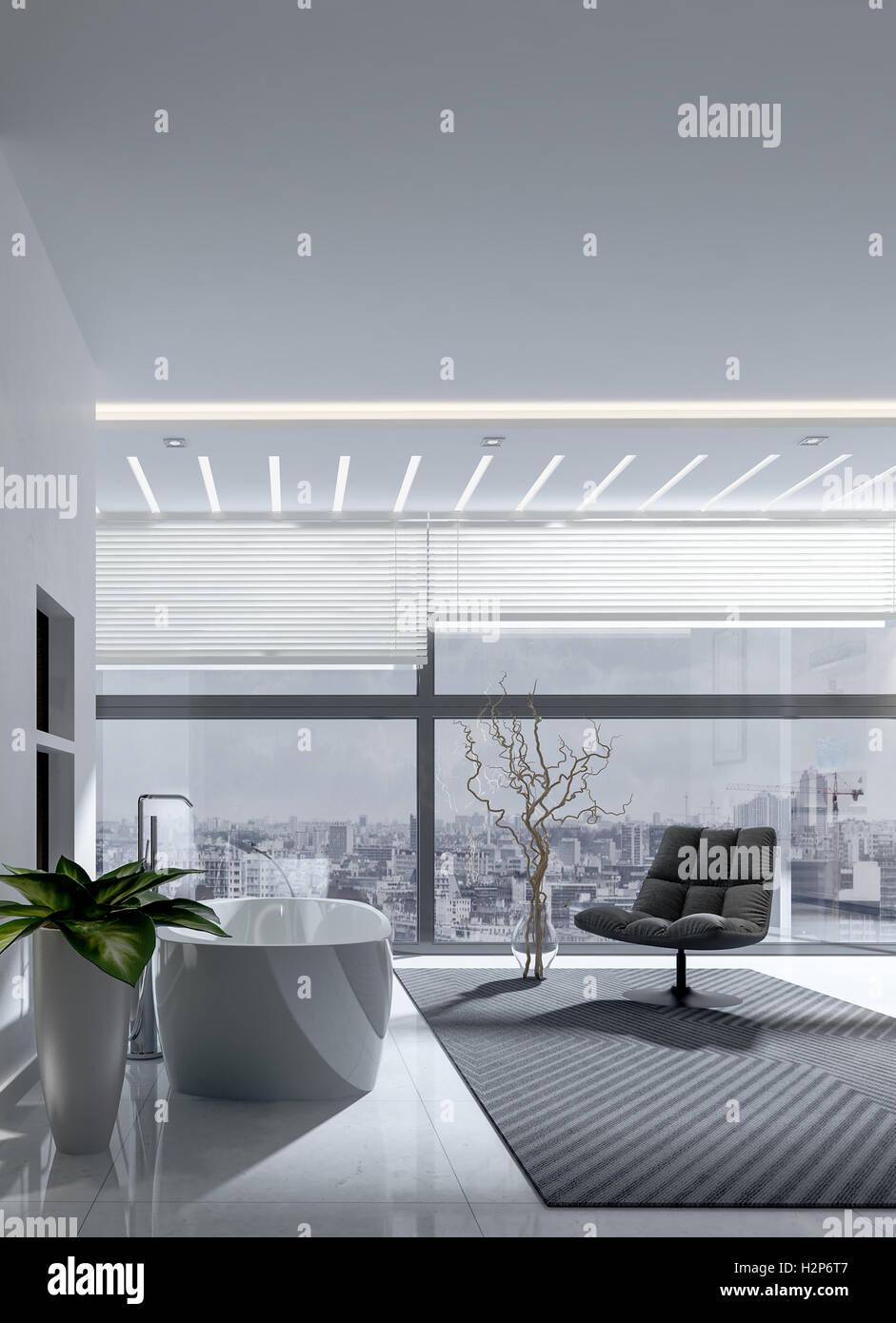 Stilvolle moderne monochrome grau Badezimmer Interieur mit ...