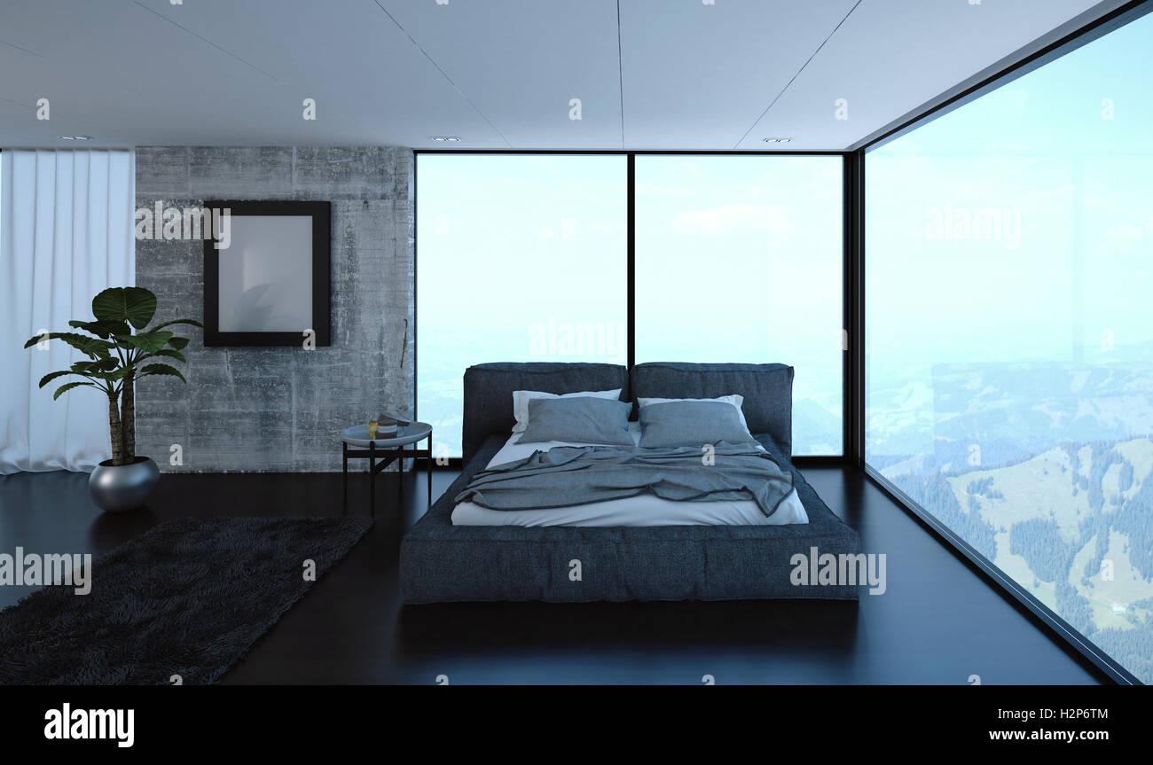 3D Rendern Von Luxus Schlafzimmer Mit Ungemachten Bett In Wohnung Mit  Großen Fenstern Und Hügeln Im Hintergrund