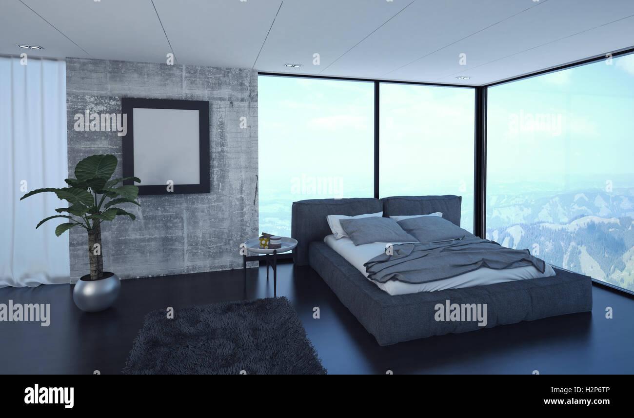 Luxus minimalistischen modernen schlafzimmer innenraum mit wrap