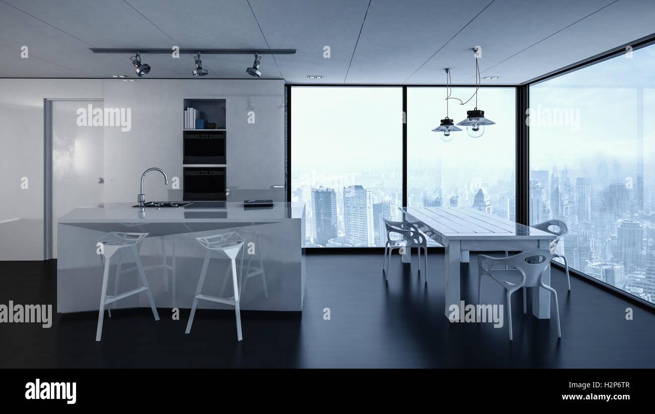 3D-Rendering Eigentumswohnung Küche Interieur mit ...