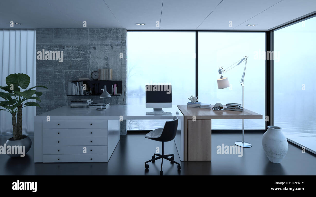 3D-Rendering des kleinen home-Office Interieurs im Luxus-Haus mit ...
