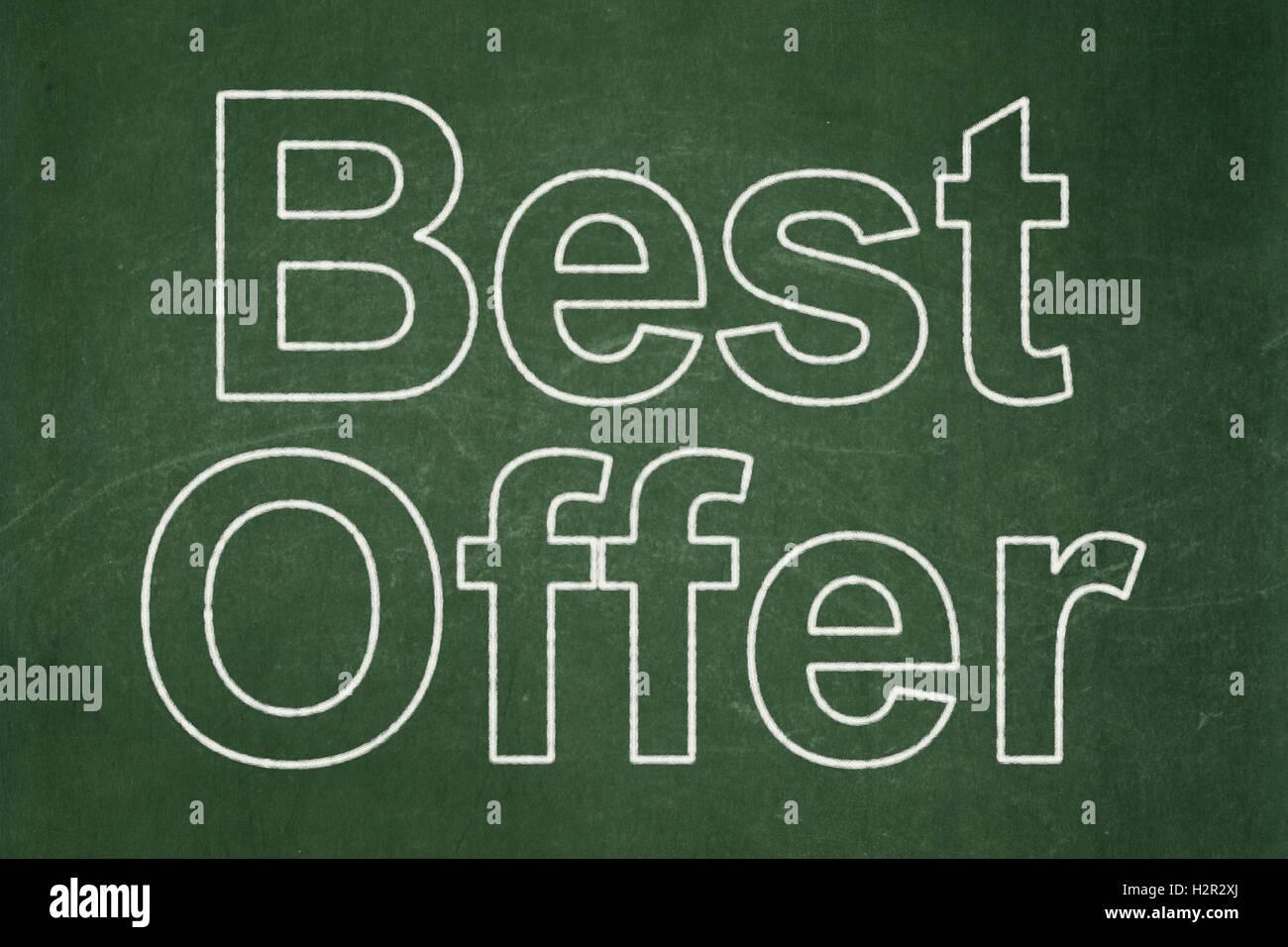 Finanzen Konzept Beste Angebot Auf Tafel Hintergrund Stockfoto