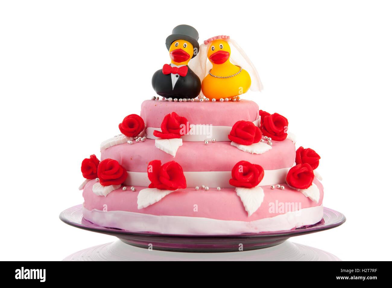 Hochzeitstorte Mit Paar Lustige Enten Stockfoto Bild 122234883 Alamy