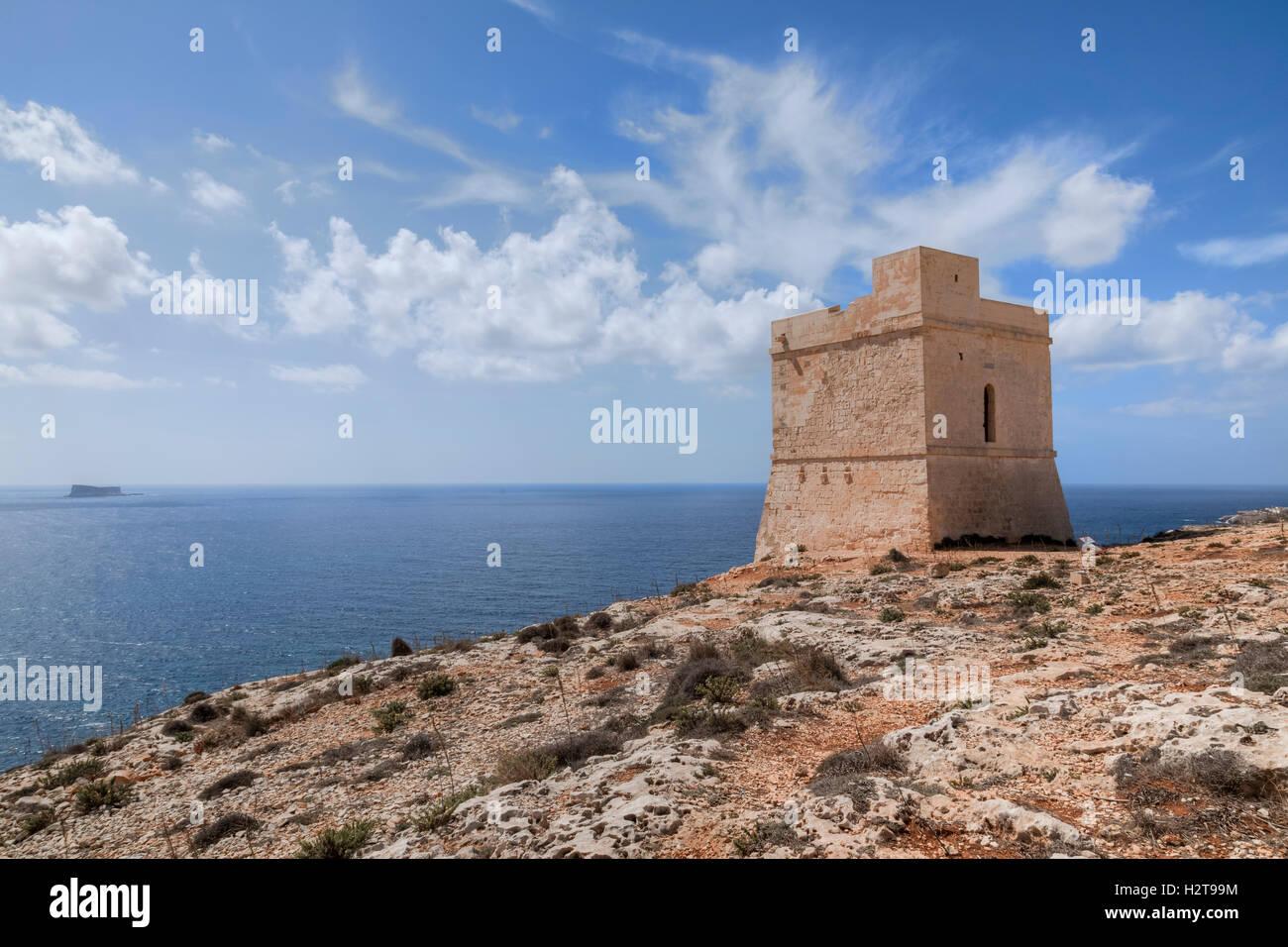 Tal-Hamrija Küste Turm, Mnajdra, Malta Stockbild