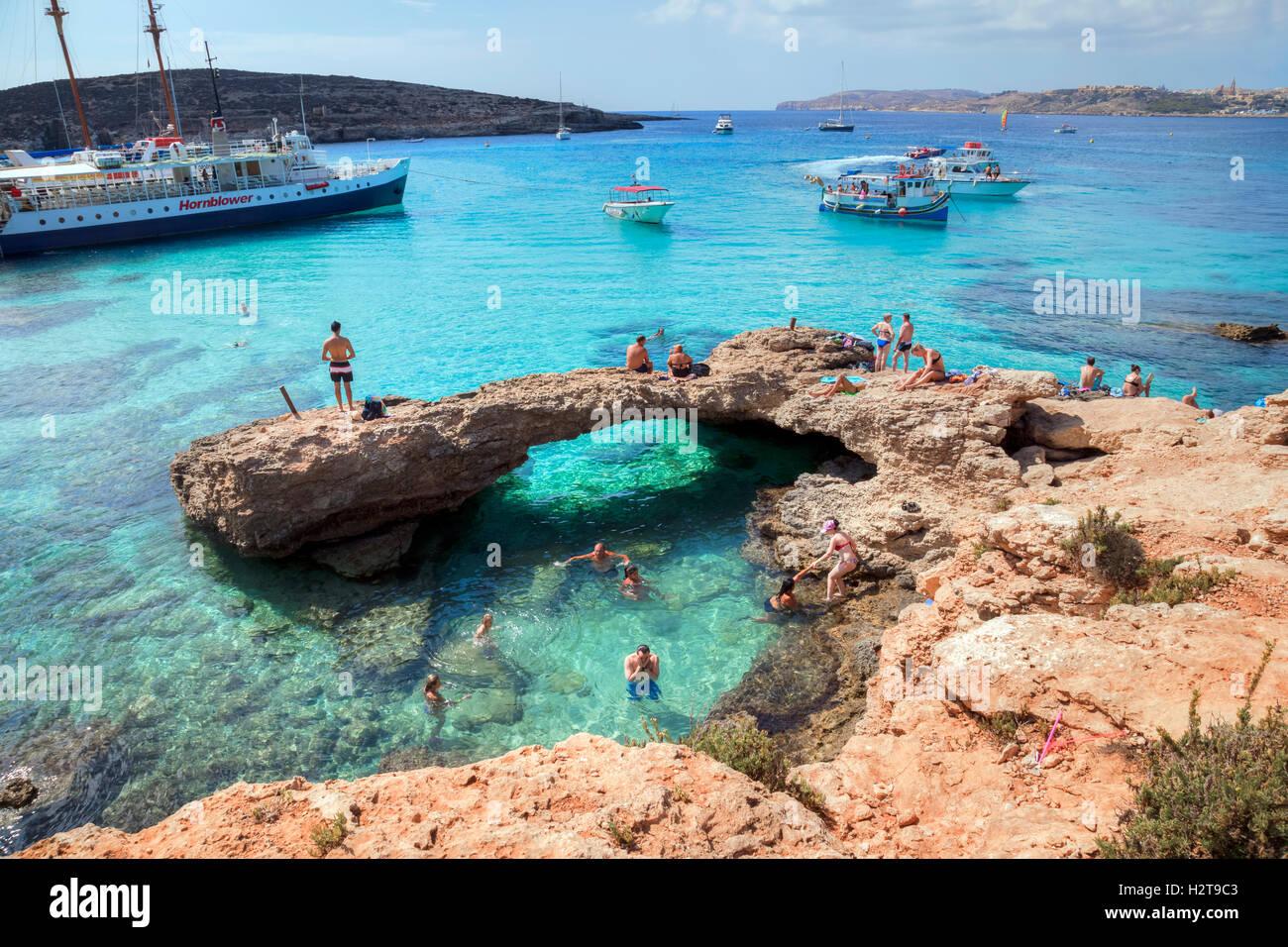 Blaue Lagune, Comino, Gozo, Malta Stockbild