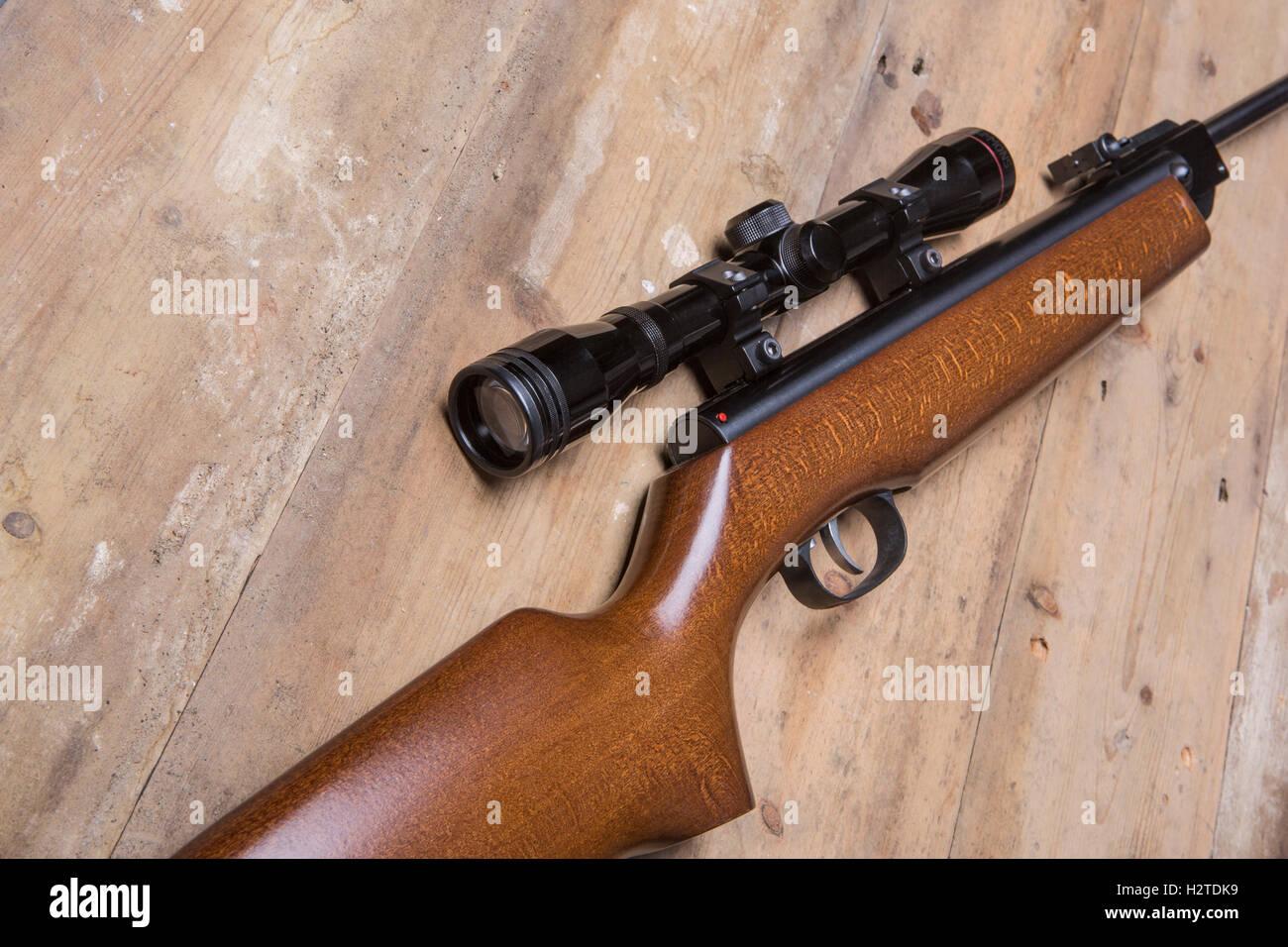 Luftgewehr mit einem zielfernrohr stockfoto bild: 122239469 alamy