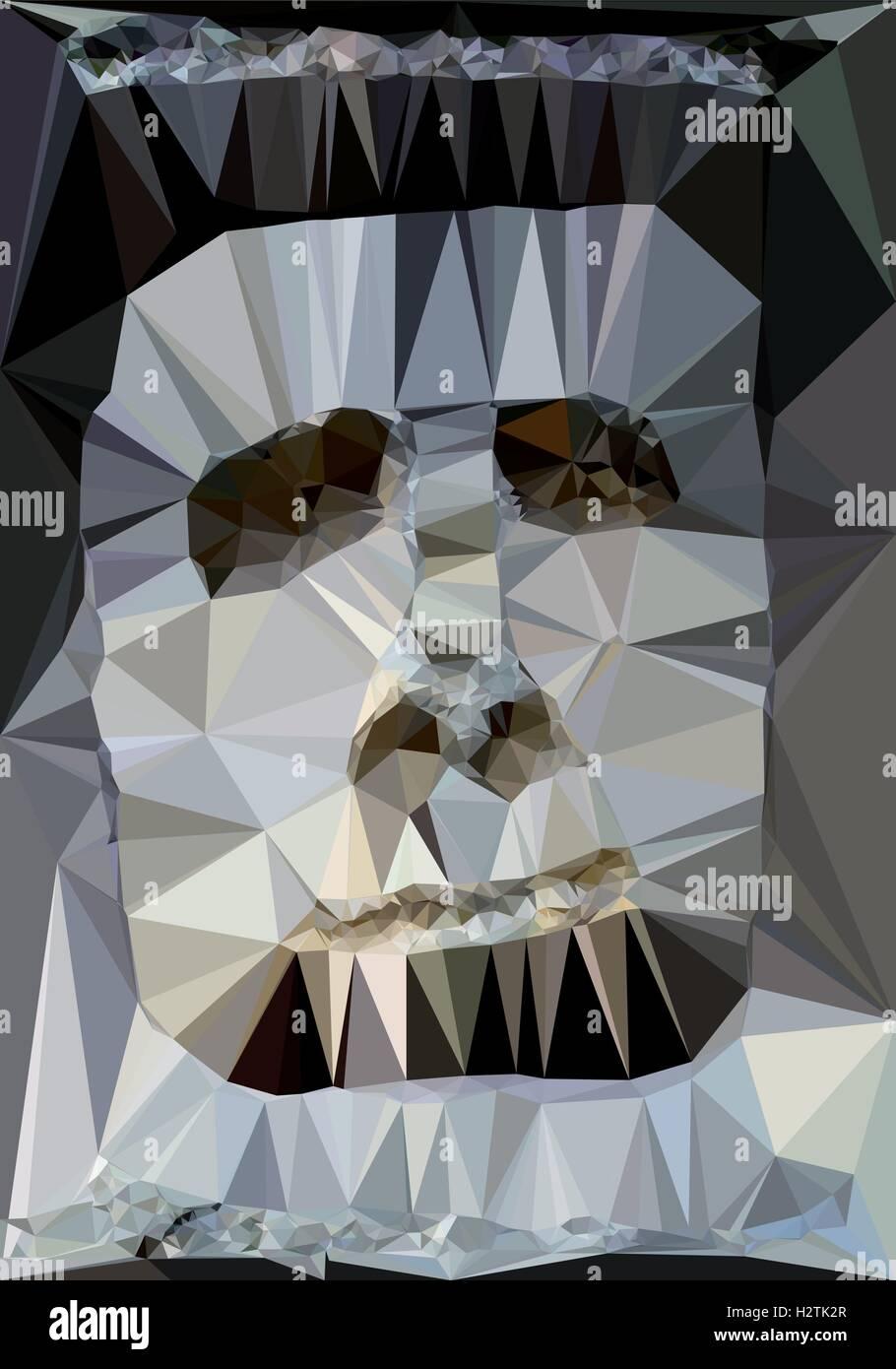 Vektor-Illustration der beängstigend Kopf - trianguliert Stockbild