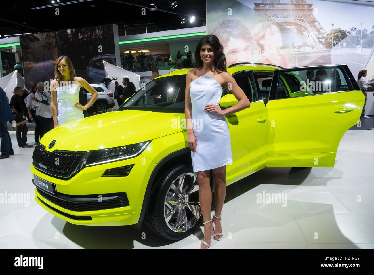 Weltpremiere des Skoda Kodiaq großen SUV auf der Paris Motor Show 2016 Stockbild
